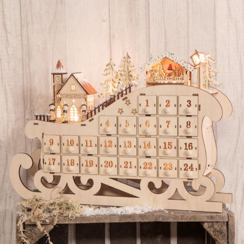 Rustic Wooden Advent Calendar Christmas Sleigh Light Up Village Scene Natural Wood